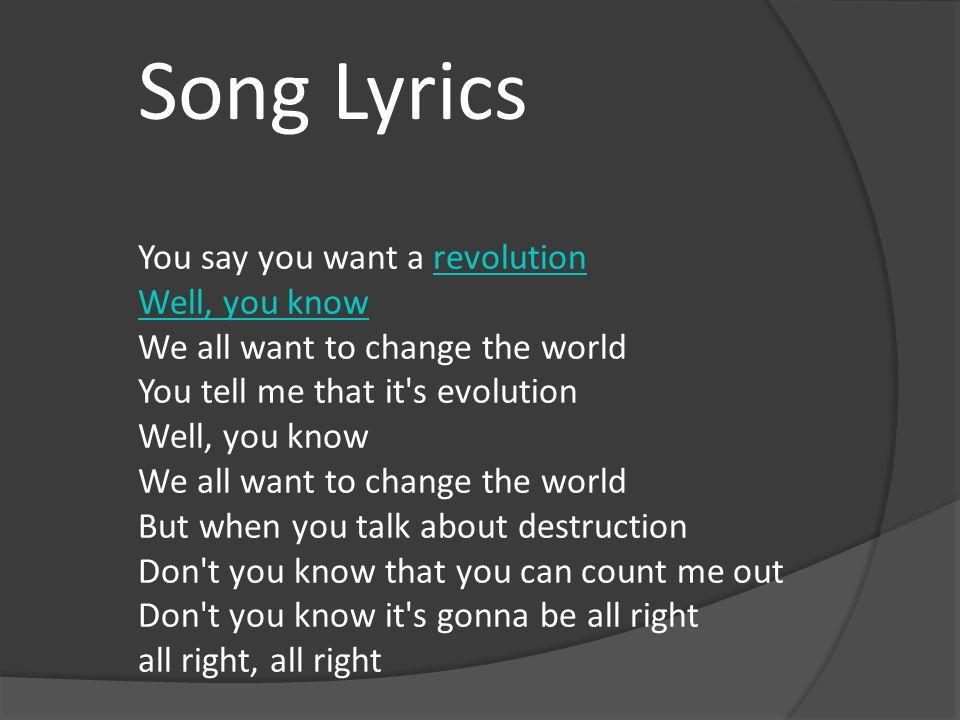 By John LennonJohn Lennon Nick M-Levy Block 5. You say you want a ...