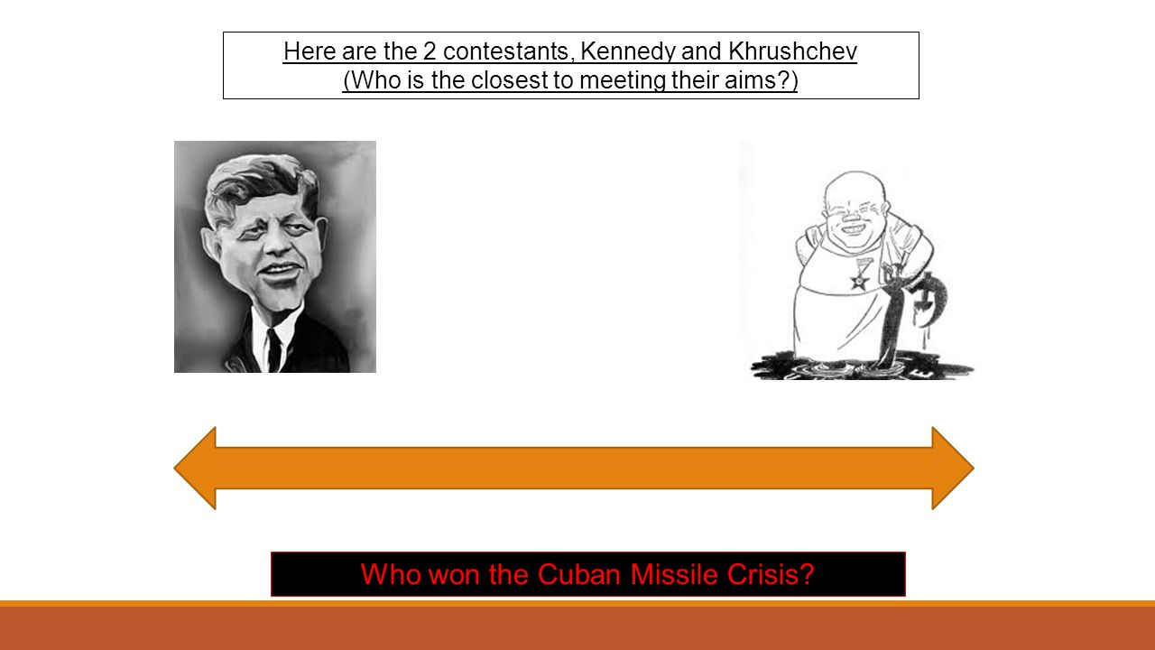 Here are the 2 contestants, Kennedy and Khrushchev (Who is the closest to meeting their aims ) Who won the Cuban Missile Crisis