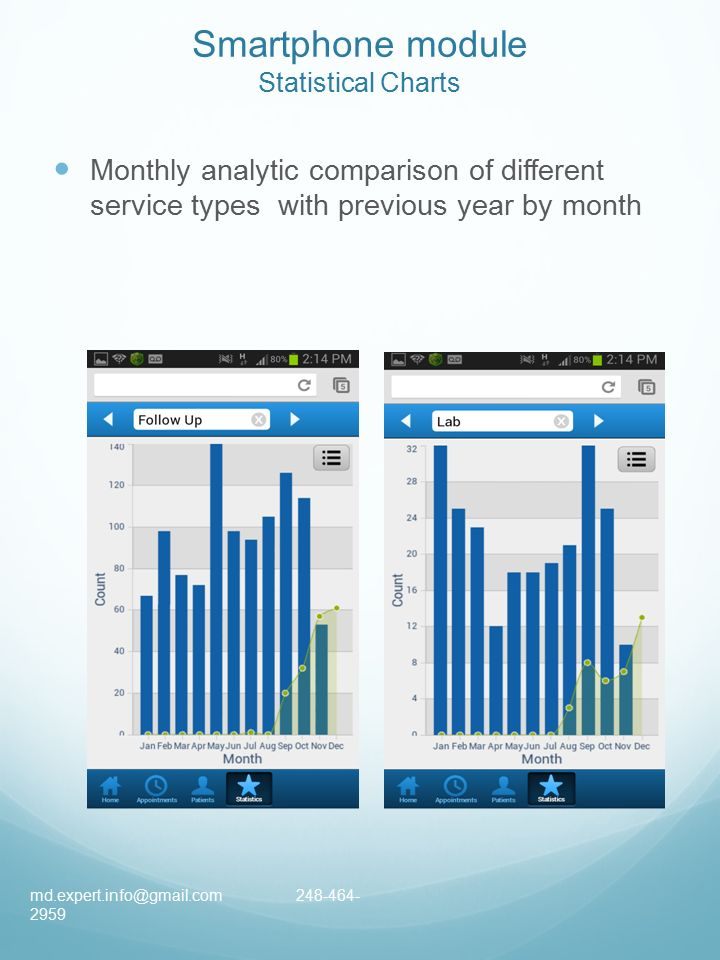 Smartphone module Statistical Charts Monthly analytic comparison of different service types with previous year by month
