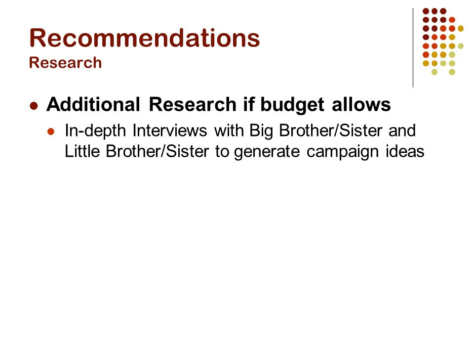 Recommendations Research Additional Research if budget allows In-depth Interviews with Big Brother/Sister and Little Brother/Sister to generate campaign ideas