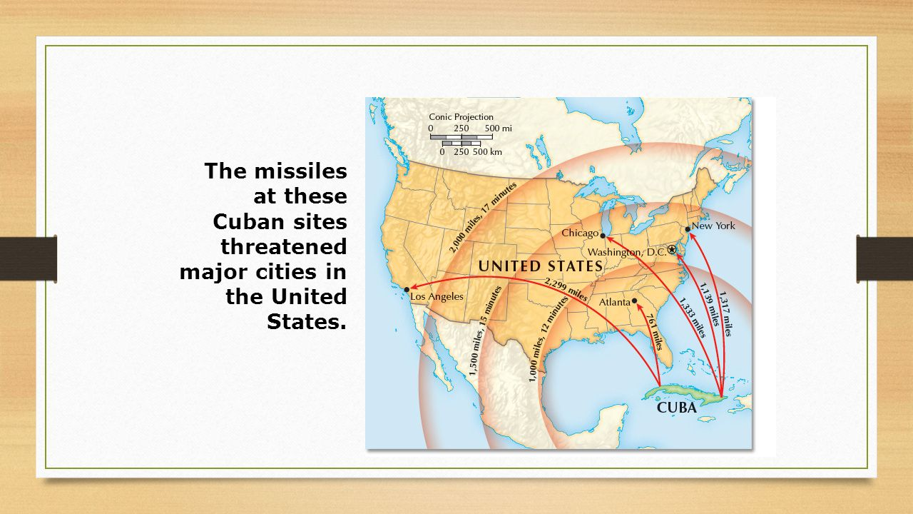 The missiles at these Cuban sites threatened major cities in the United States.