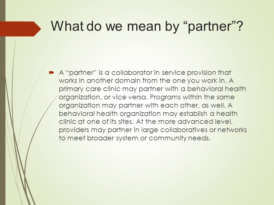 What do we mean by partner .