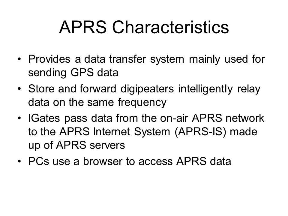Internet-Connected Amateur Radio Systems APRS, D-Star