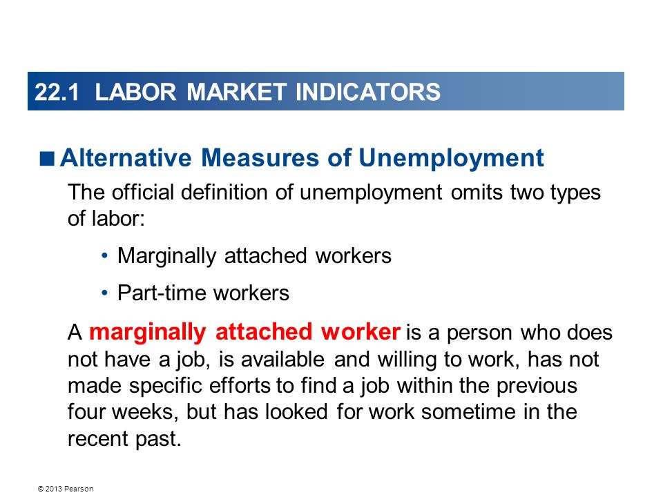 © 2013 Pearson 22.1 LABOR MARKET INDICATORS  Alternative Measures of Unemployment The official definition of unemployment omits two types of labor: Marginally attached workers Part-time workers A marginally attached worker is a person who does not have a job, is available and willing to work, has not made specific efforts to find a job within the previous four weeks, but has looked for work sometime in the recent past.
