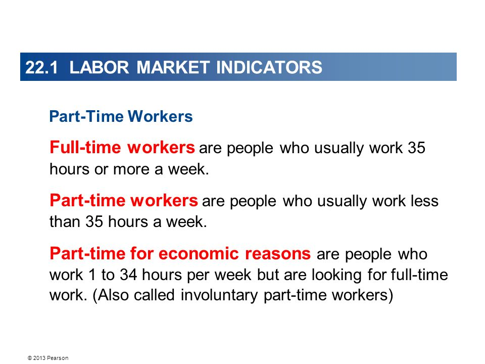 © 2013 Pearson 22.1 LABOR MARKET INDICATORS Part-Time Workers Full-time workers are people who usually work 35 hours or more a week.