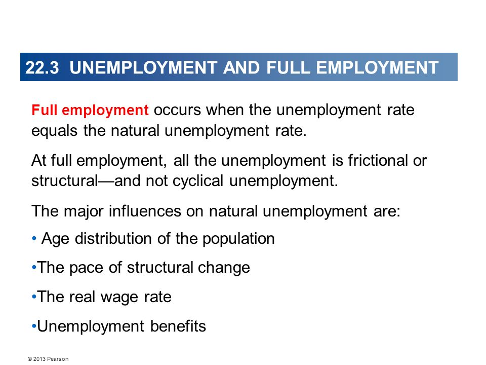 © 2013 Pearson 22.3 UNEMPLOYMENT AND FULL EMPLOYMENT Full employment occurs when the unemployment rate equals the natural unemployment rate.