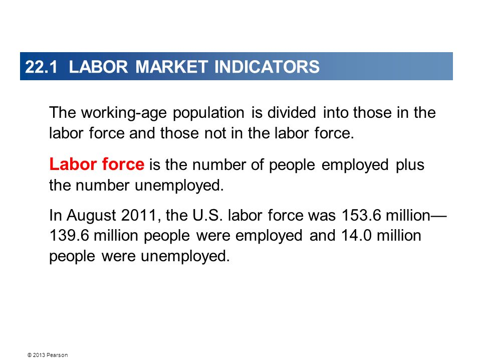 © 2013 Pearson 22.1 LABOR MARKET INDICATORS The working-age population is divided into those in the labor force and those not in the labor force.