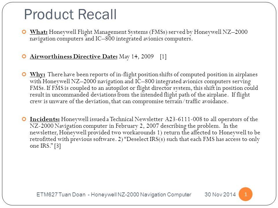 Product Recall ETM627 Tuan Doan Honeywell NZ 2000