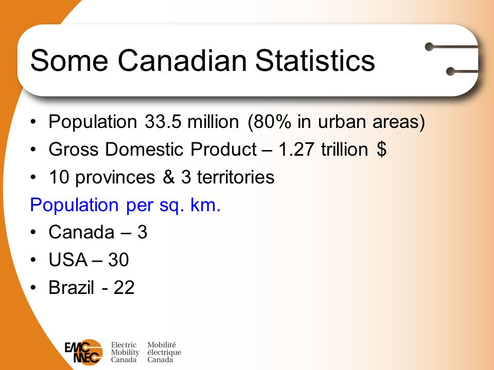 Some Canadian Statistics Population 33.5 million (80% in urban areas) Gross Domestic Product – 1.27 trillion $ 10 provinces & 3 territories Population per sq.