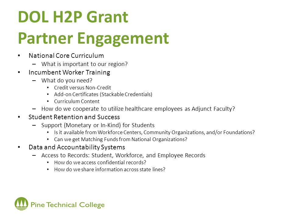 DOL H2P Grant Partner Engagement National Core Curriculum – What is important to our region.