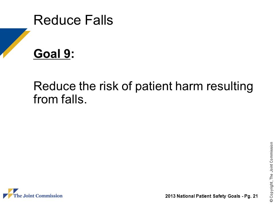 national patient safety goals falls