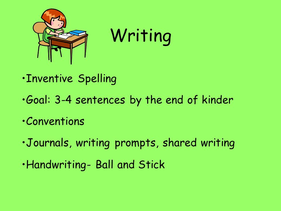 Writing Inventive Spelling Goal: 3-4 sentences by the end of kinder Conventions Journals, writing prompts, shared writing Handwriting- Ball and Stick