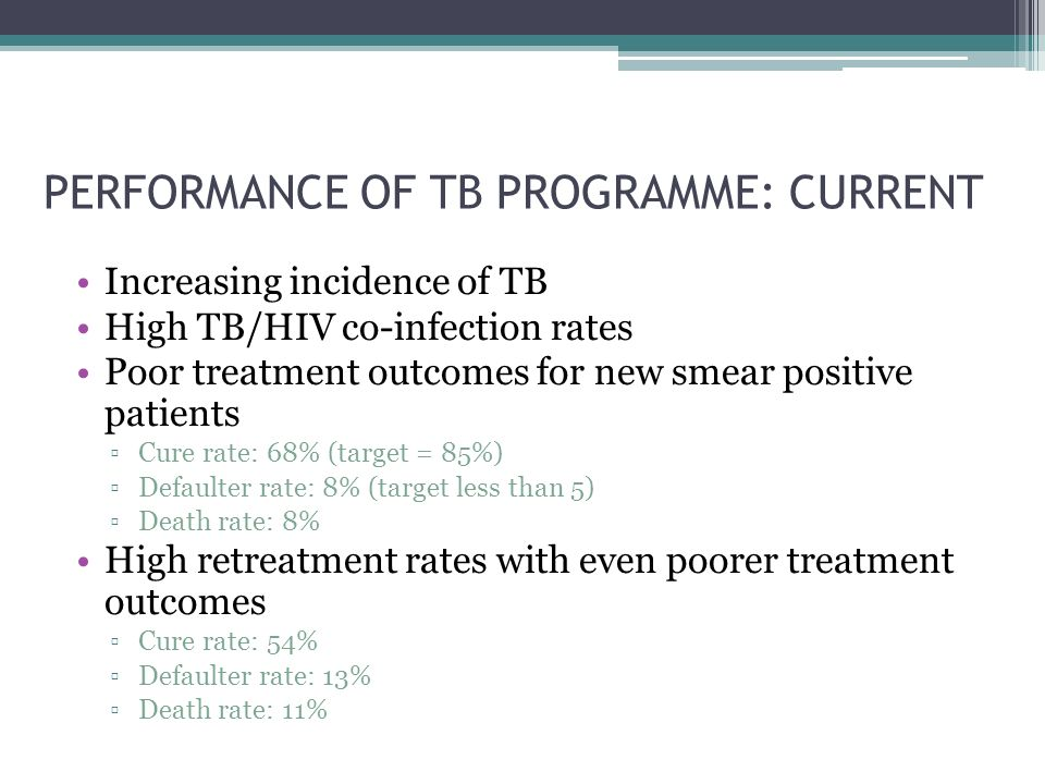 PERFORMANCE OF TB PROGRAMME: CURRENT Increasing incidence of TB High TB/HIV co-infection rates Poor treatment outcomes for new smear positive patients ▫Cure rate: 68% (target = 85%) ▫Defaulter rate: 8% (target less than 5) ▫Death rate: 8% High retreatment rates with even poorer treatment outcomes ▫Cure rate: 54% ▫Defaulter rate: 13% ▫Death rate: 11%