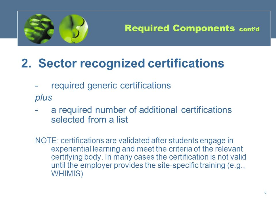 5 5 Required Components 1.Bundled credits include 4 'Major' credits (2 in each of grade 11 and 12) that enable students to build a foundation of sector-focussed knowledge and skills Support for the Major in 1 – 3 additional credits (e.g.