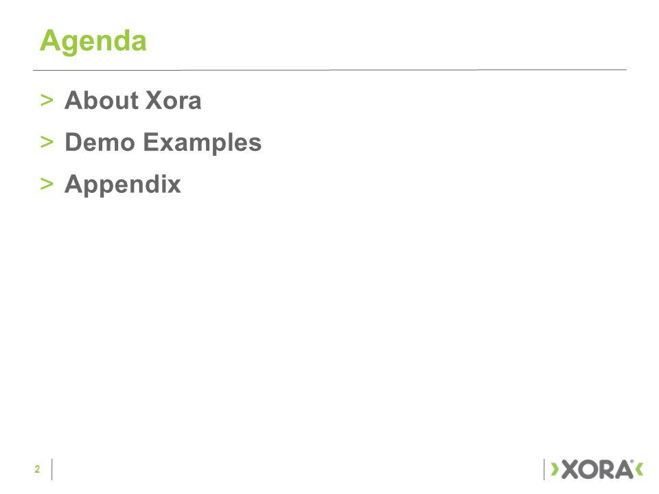 1 Xora Sales Presentation  >About Xora >Demo Examples