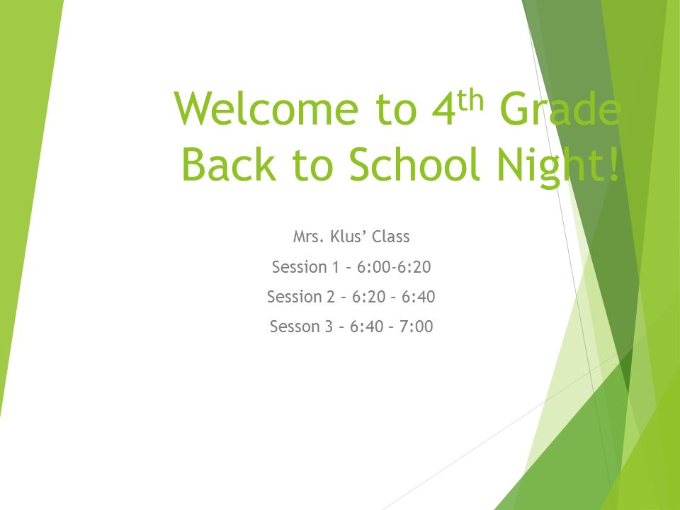 Welcome to 4 th Grade Back to School Night. Mrs.