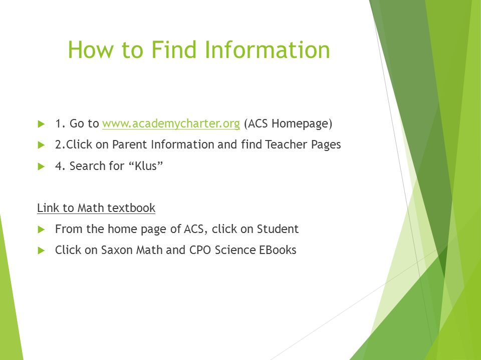 How to Find Information  1.