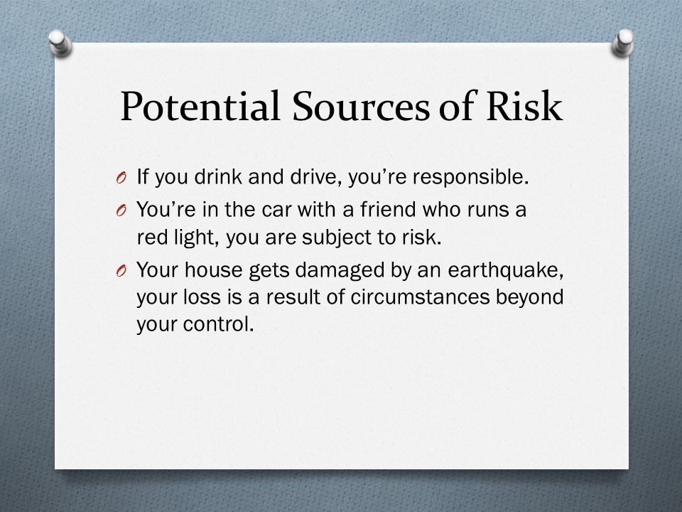 Potential Sources of Risk O If you drink and drive, you're responsible.