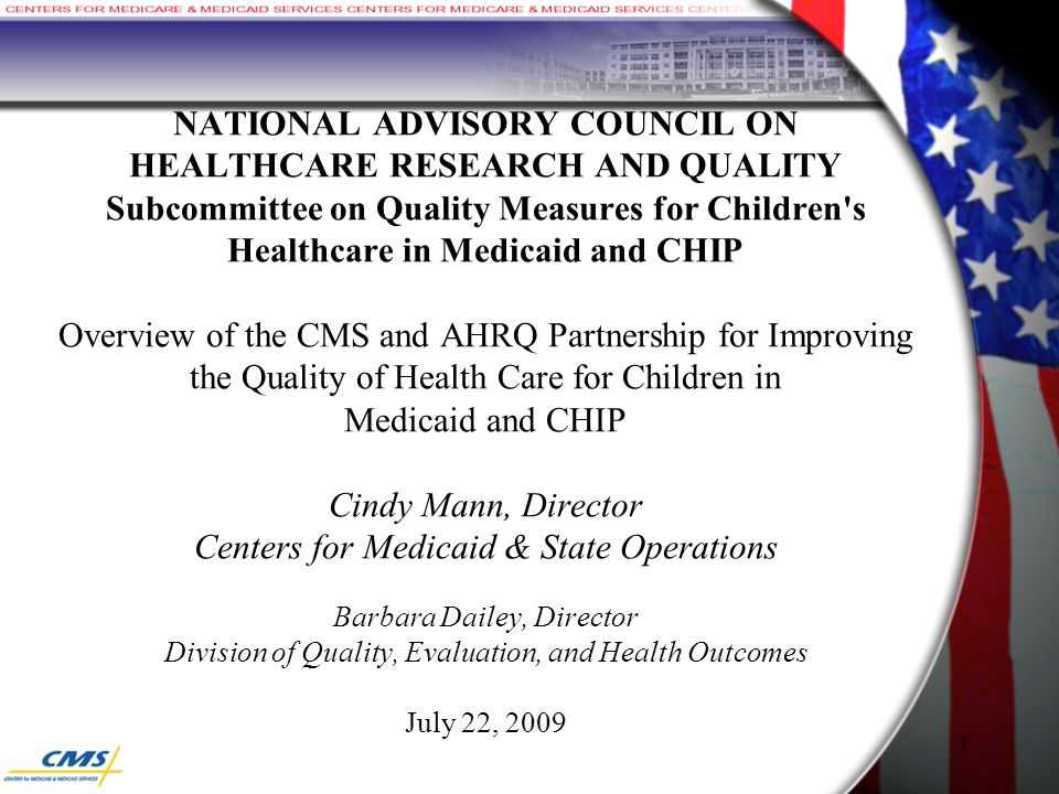 1 NATIONAL ADVISORY COUNCIL ON HEALTHCARE RESEARCH AND QUALITY Subcommittee on Quality Measures for Children s Healthcare in Medicaid and CHIP Overview of the CMS and AHRQ Partnership for Improving the Quality of Health Care for Children in Medicaid and CHIP Cindy Mann, Director Centers for Medicaid & State Operations Barbara Dailey, Director Division of Quality, Evaluation, and Health Outcomes July 22, 2009