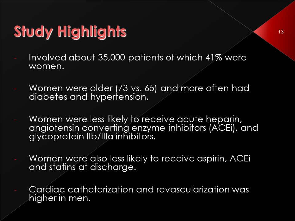 13 Study Highlights - Involved about 35,000 patients of which 41% were women.