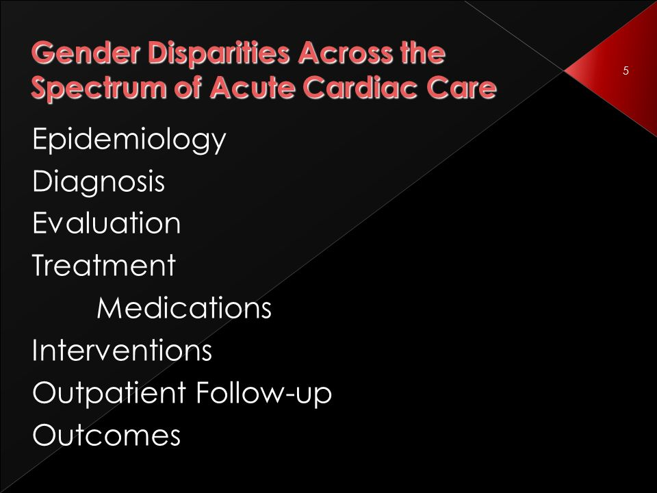 5 Gender Disparities Across the Spectrum of Acute Cardiac Care Epidemiology Diagnosis Evaluation Treatment Medications Interventions Outpatient Follow-up Outcomes