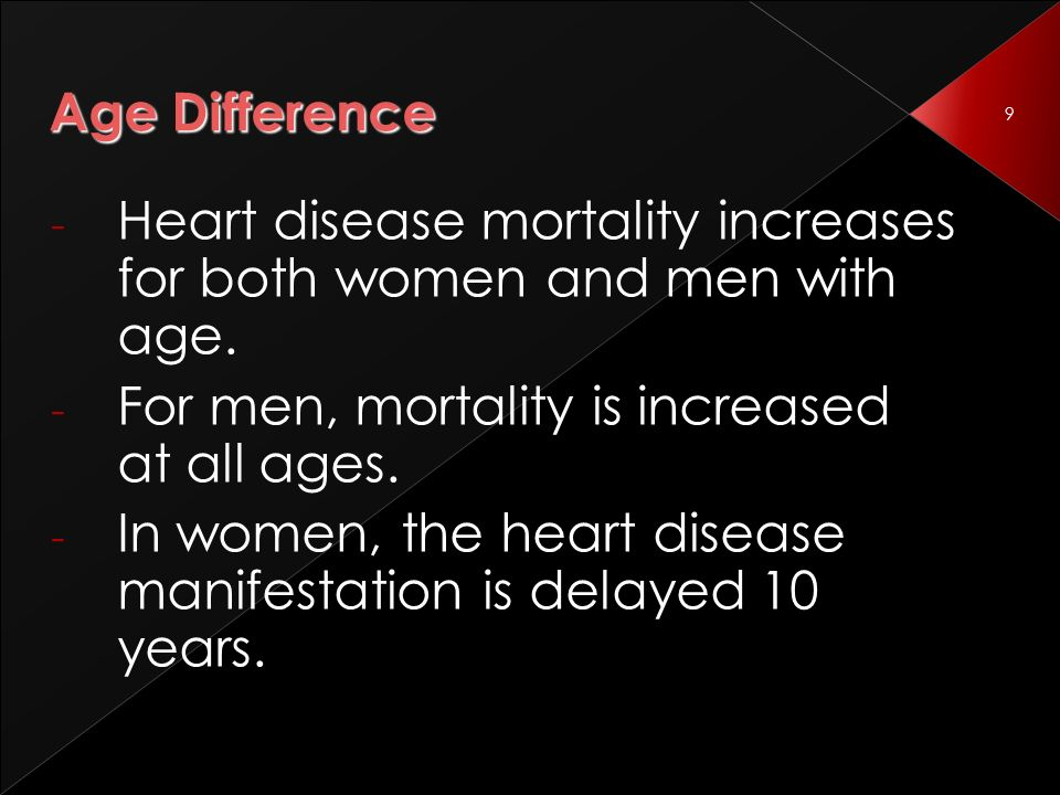 9 Age Difference - Heart disease mortality increases for both women and men with age.