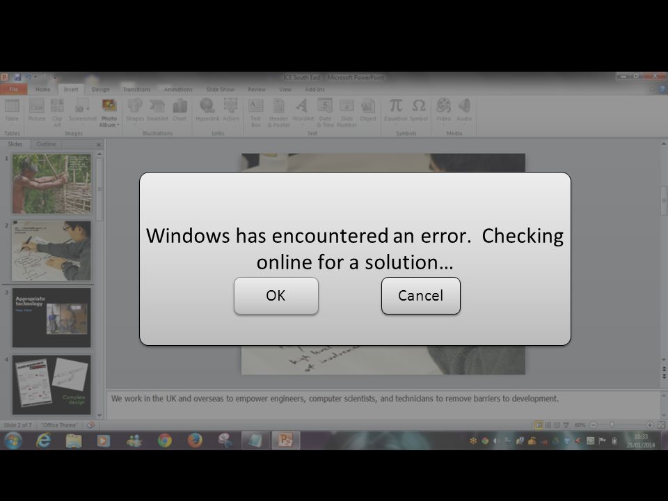 Windows has encountered an error. Checking online for a solution… OKCancel