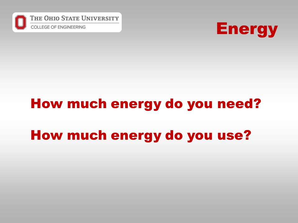 Energy How much energy do you need How much energy do you use