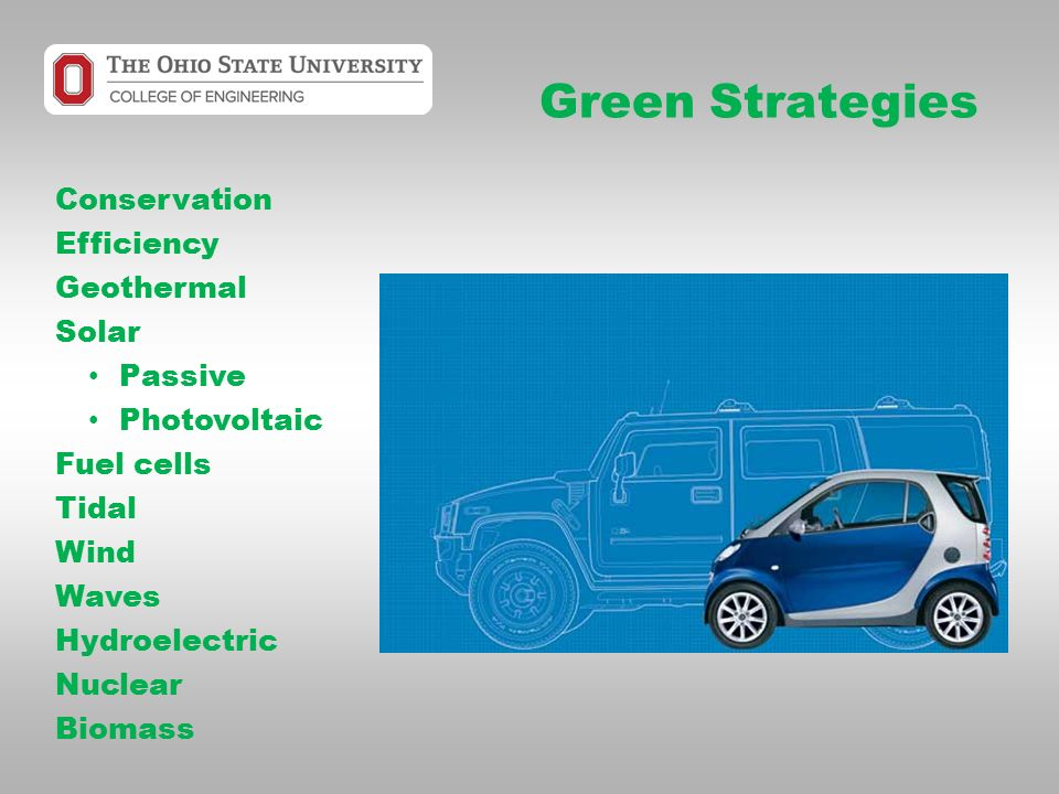 Green Strategies Conservation Efficiency Geothermal Solar Passive Photovoltaic Fuel cells Tidal Wind Waves Hydroelectric Nuclear Biomass
