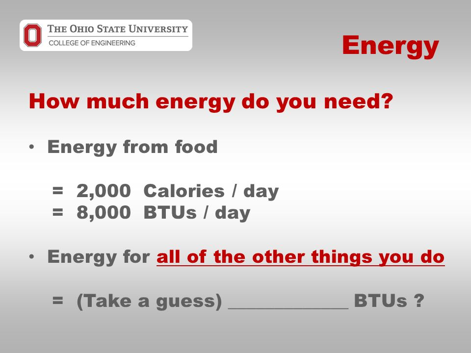 Energy How much energy do you need.