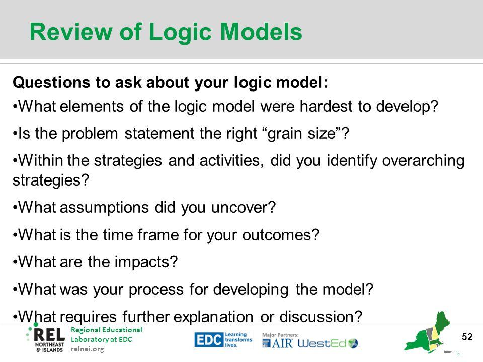 Regional Educational Laboratory at EDC relnei org Logic Models to
