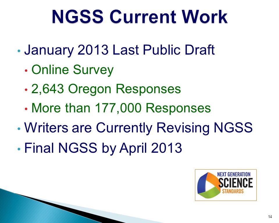 January 2013 Last Public Draft Online Survey 2,643 Oregon Responses More than 177,000 Responses Writers are Currently Revising NGSS Final NGSS by April