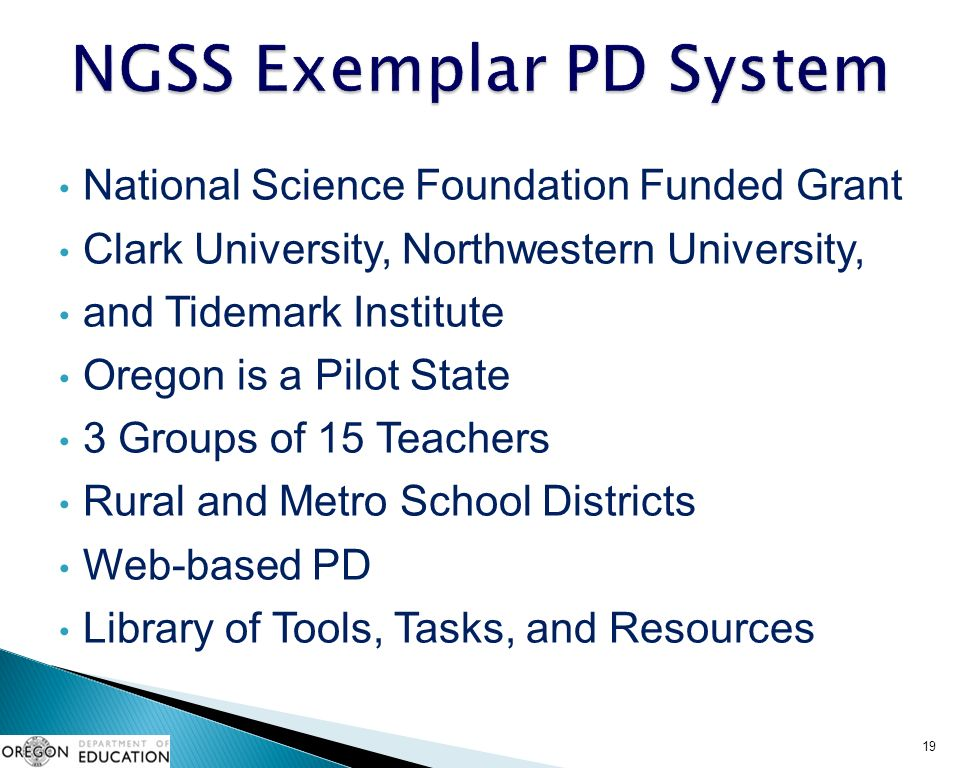 National Science Foundation Funded Grant Clark University, Northwestern University, and Tidemark Institute Oregon is a Pilot State 3 Groups of 15 Teachers Rural and Metro School Districts Web-based PD Library of Tools, Tasks, and Resources 19