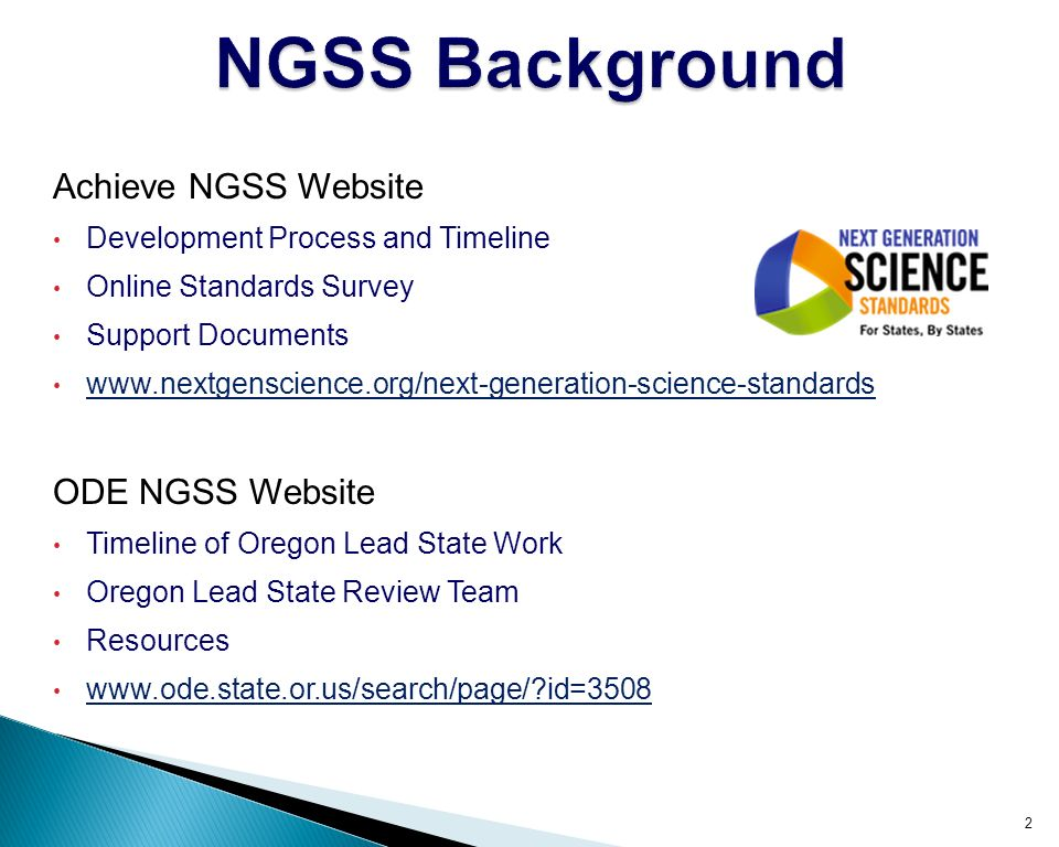 Achieve NGSS Website Development Process and Timeline Online Standards Survey Support Documents   ODE NGSS Website Timeline of Oregon Lead State Work Oregon Lead State Review Team Resources   id=3508 2