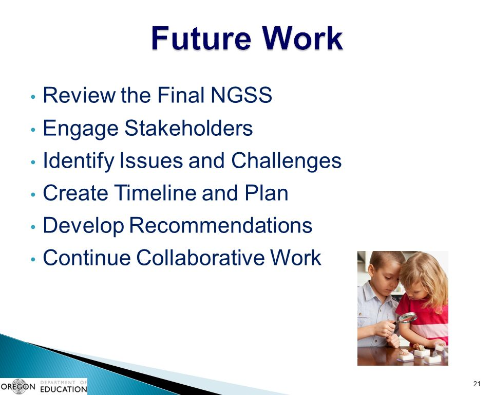 Review the Final NGSS Engage Stakeholders Identify Issues and Challenges Create Timeline and Plan Develop Recommendations Continue Collaborative Work 21