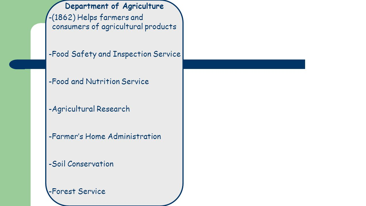 Department of Agriculture -(1862) Helps farmers and consumers of agricultural products -Food Safety and Inspection Service -Food and Nutrition Service -Agricultural Research -Farmer's Home Administration -Soil Conservation -Forest Service