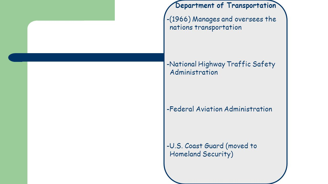 Department of Transportation -(1966) Manages and oversees the nations transportation -National Highway Traffic Safety Administration -Federal Aviation Administration -U.S.