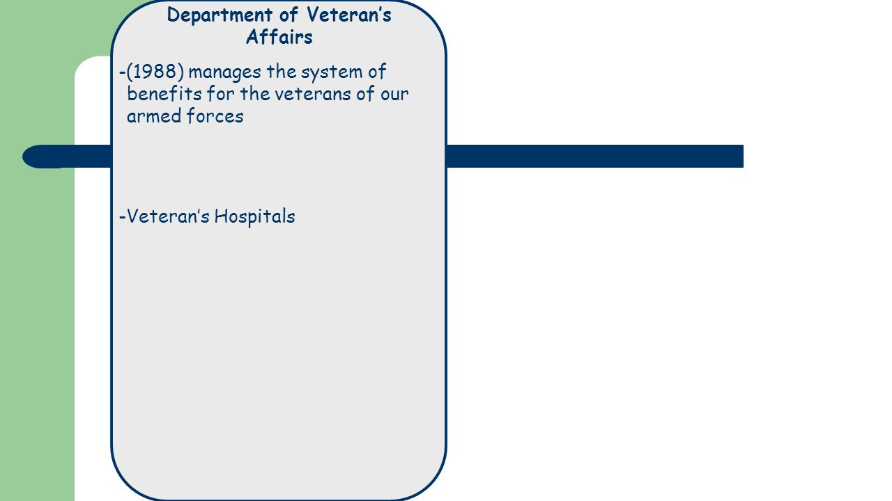 Department of Veteran's Affairs -(1988) manages the system of benefits for the veterans of our armed forces -Veteran's Hospitals