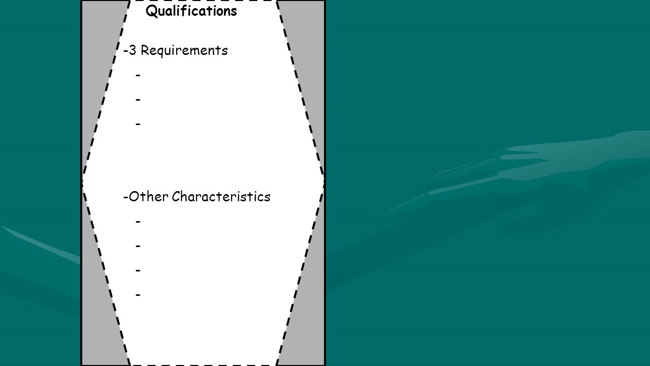 Qualifications -3 Requirements - -Other Characteristics -