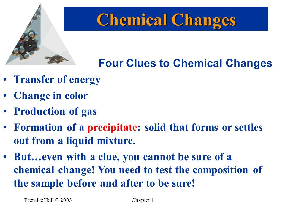 Prentice Hall © 2003Chapter 1 Four Clues to Chemical Changes Transfer of energy Change in color Production of gas Formation of a precipitate: solid that forms or settles out from a liquid mixture.