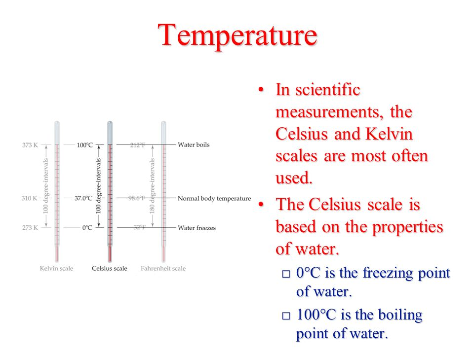 Temperature In scientific measurements, the Celsius and Kelvin scales are most often used.In scientific measurements, the Celsius and Kelvin scales are most often used.
