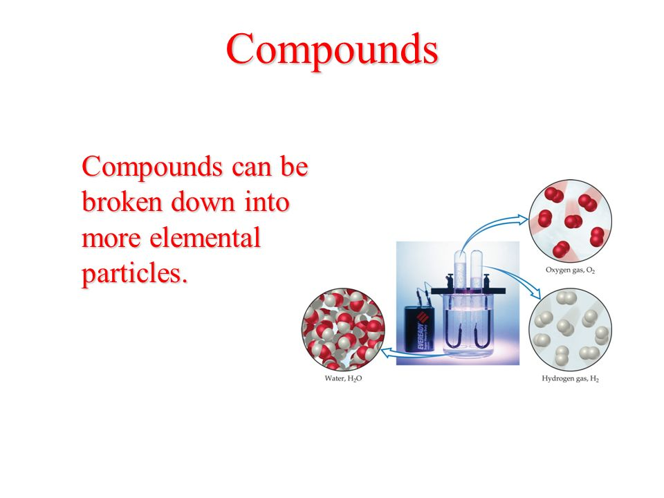 Compounds Compounds can be broken down into more elemental particles.