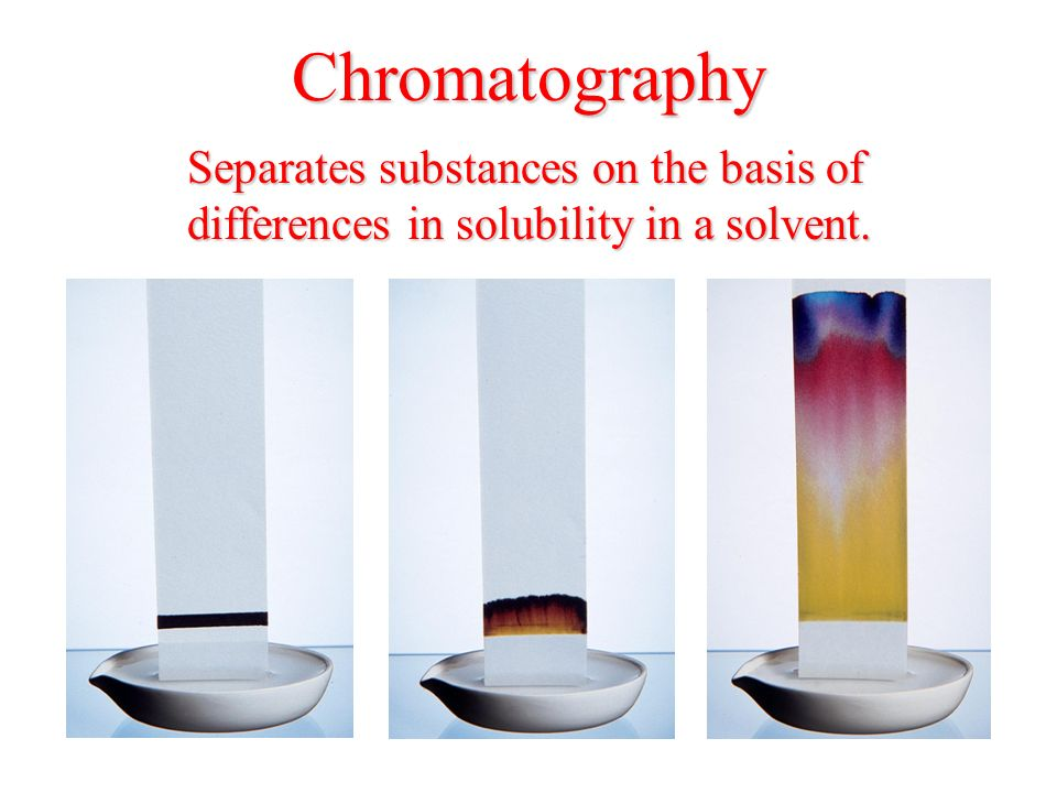 Chromatography Separates substances on the basis of differences in solubility in a solvent.