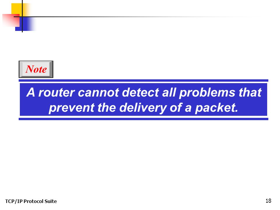 TCP/IP Protocol Suite 18 A router cannot detect all problems that prevent the delivery of a packet.