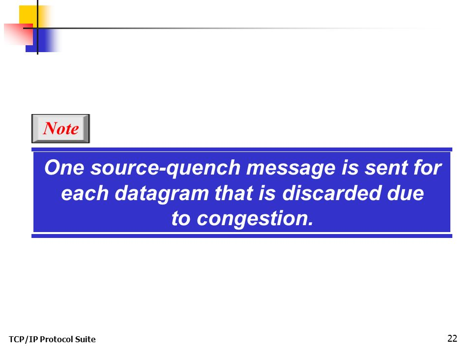 TCP/IP Protocol Suite 22 One source-quench message is sent for each datagram that is discarded due to congestion.