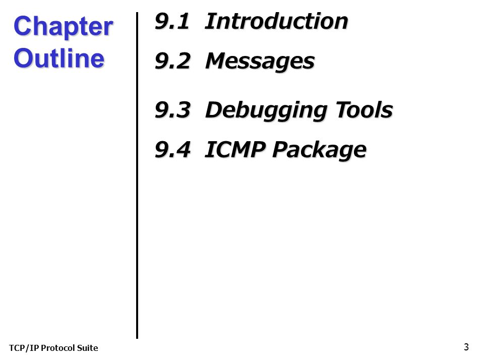 TCP/IP Protocol Suite 3 Chapter Outline 9.1 Introduction 9.2 Messages 9.3 Debugging Tools 9.4 ICMP Package