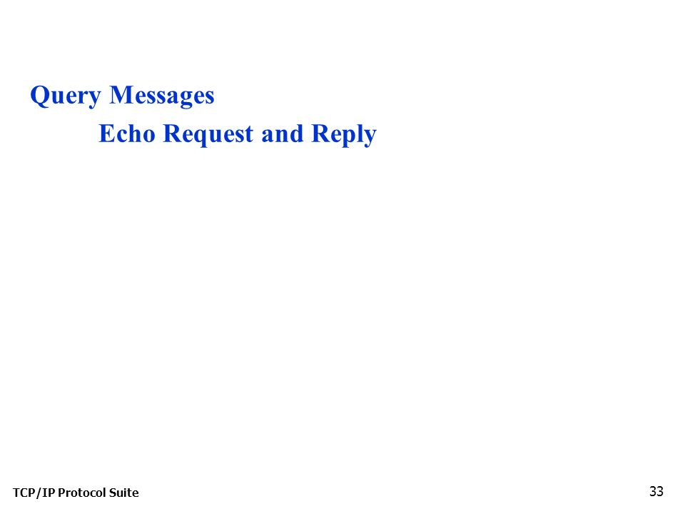 TCP/IP Protocol Suite 33 Query Messages Echo Request and Reply