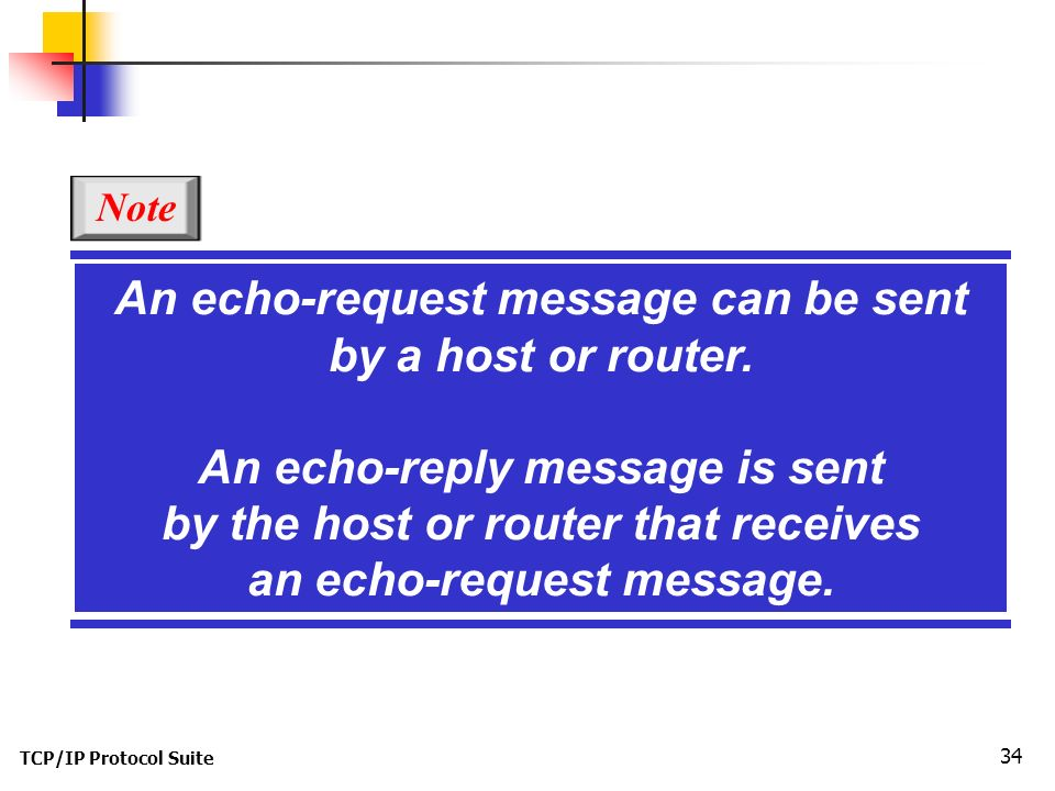 TCP/IP Protocol Suite 34 An echo-request message can be sent by a host or router.