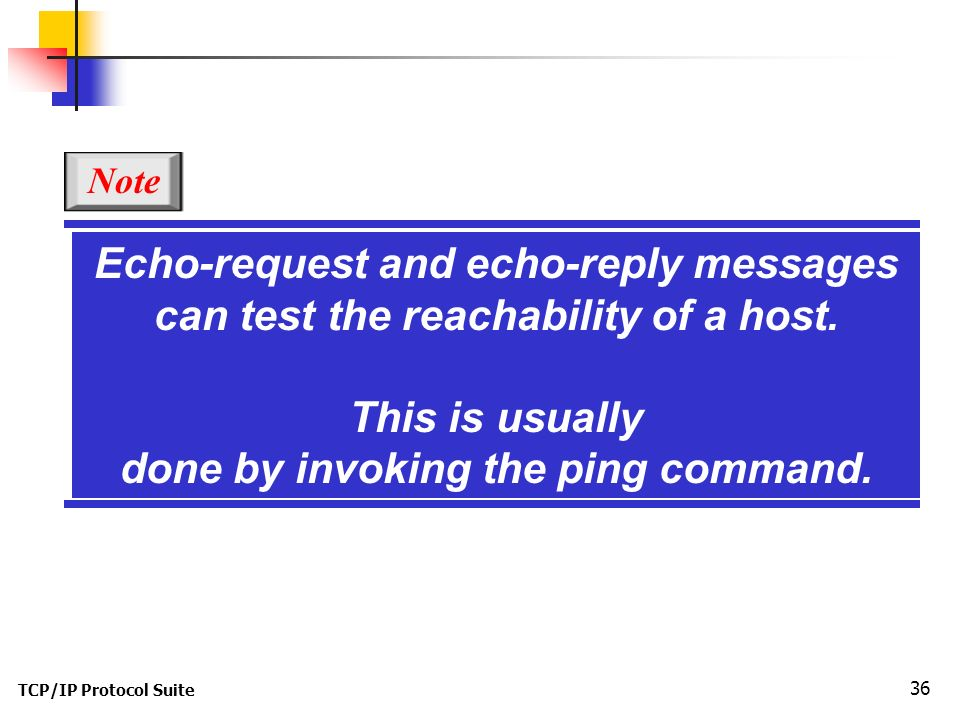 TCP/IP Protocol Suite 36 Echo-request and echo-reply messages can test the reachability of a host.
