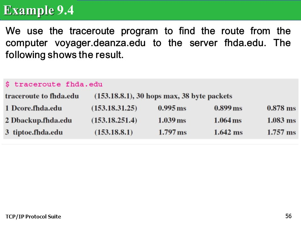 TCP/IP Protocol Suite 56 We use the traceroute program to find the route from the computer voyager.deanza.edu to the server fhda.edu.